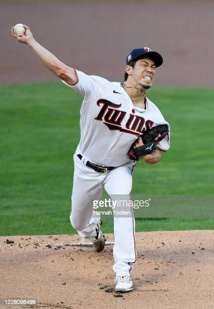 Kenta Maeda of the Minnesota Twins delivers a pitch against the Milwaukee Brewers during the first inning of the game at Target Field on August 18,...