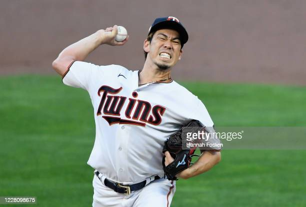 Kenta Maeda of the Minnesota Twins delivers a pitch against the Milwaukee Brewers during the second inning of the game at Target Field on August 18,...