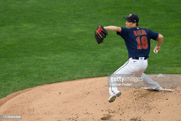 Kenta Maeda of the Minnesota Twins delivers a pitch against the Detroit Tigers during the second inning of the game at Target Field on September 5,...