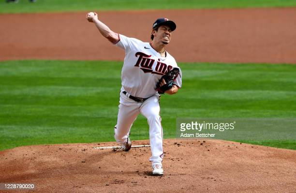 Kenta Maeda of the Minnesota Twins pitches in the first inning of Game One of the Wild Card Round against the Houston Astros at Target Field on...