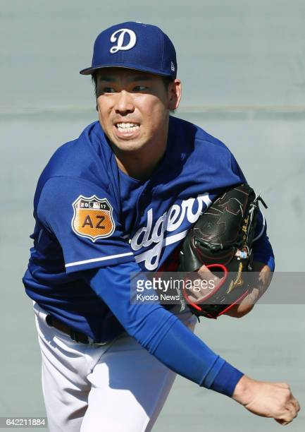 Kenta Maeda throws a bullpen session at the Los Angeles Dodgers' spring training site in Glendale Arizona on Feb 16 2017 ==Kyodo
