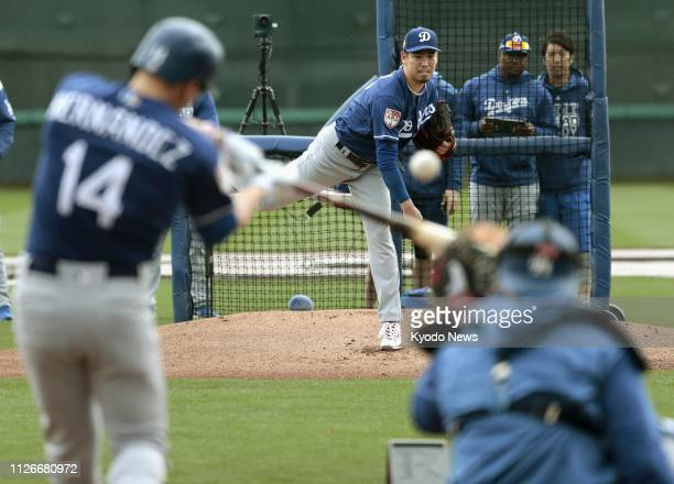 Kenta Maeda throws live batting practice at the Los Angeles Dodgers' spring training facility in Glendale Arizona on Feb 21 2019 ==Kyodo