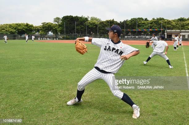 Kenta Makihara of Japan warms up on the field prior to the BFA U12 Asian Championship Group A match between Sri Lanka and Japan at Xinsheng Park...