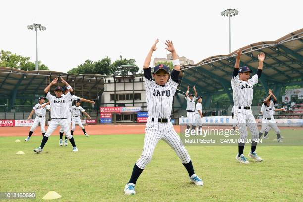 Kenta Makihara of Japan warms up on the field with team mates prior to the BFA U12 Asian Championship Super Round match between Japan and Pakistan at...