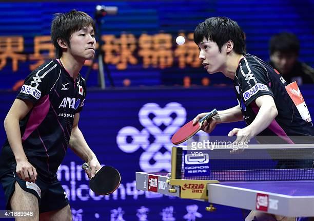 Kenta Matsudaira and Koki Niwa of Japan compete against Fan Zhendong and Zhou Yu of China during men's doubles semifinal match on day seven of the...
