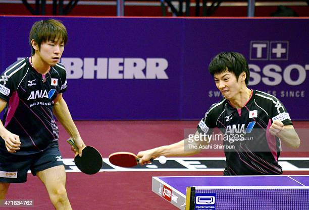 Kenta Matsudaira and Koki Niwa of Japan compete in the Men's Doubles quarter final match on day five of the 2015 World Table Tennis Championships on...