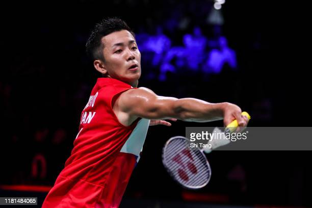 Kenta Nishimoto of Japan competes in the Men's Singles first round match against Viktor Axelsen of Denmark on day two of the Denmark Open at Odense...