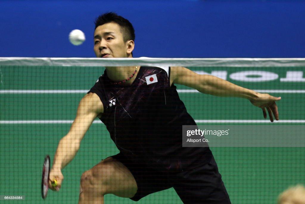 Kenta Nishimoto of japan plays a return shot to Emil Hoist