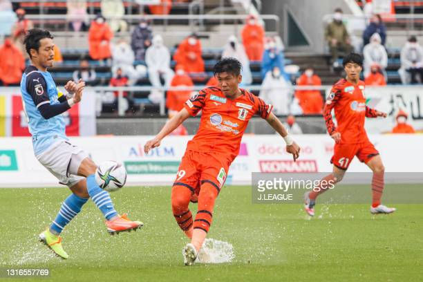 Kenta UCHIDA of Ehime FC in action during the J.League Meiji Yasuda J2 match between Ehime FC and Jubilo Iwata at Ningineer Stadium on May 05, 2021...