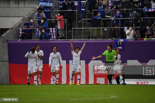 Kenta UCHIDA of Ventforet Kofu celebrates scoring his side's second goal during the J.League Meiji Yasuda J2 match between Omiya Ardija and Ventforet...