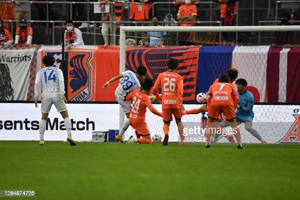 Kenta UCHIDA of Ventforet Kofu scores his side's second goal during the J.League Meiji Yasuda J2 match between Omiya Ardija and Ventforet Kofu at...