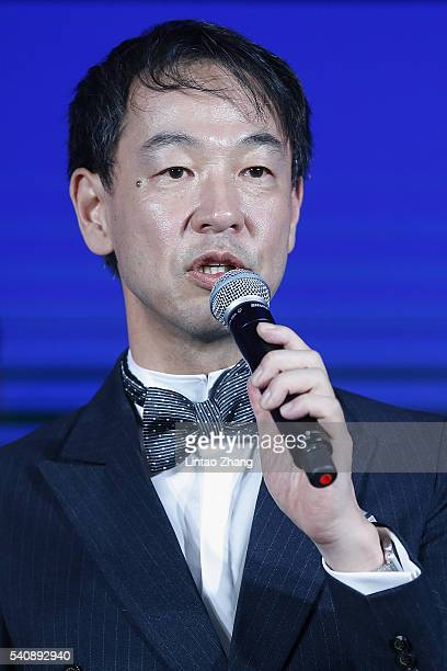 Kentaro Fujiwara CEO of Shiseido China attends the promotional event for Shiseido's Cle de Peau Beaute at Fairmont Peace Hotel on June 16 2016 in...