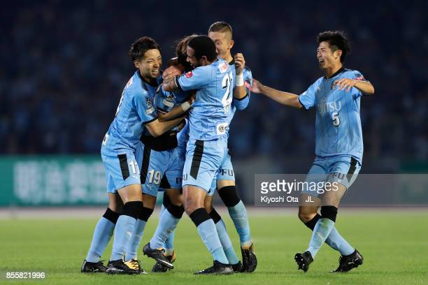 Kentaro Moriya of Kawasaki Frontale celebrates scoring his side's fourth goal with his team mates during the JLeague J1 match between Kawasaki...