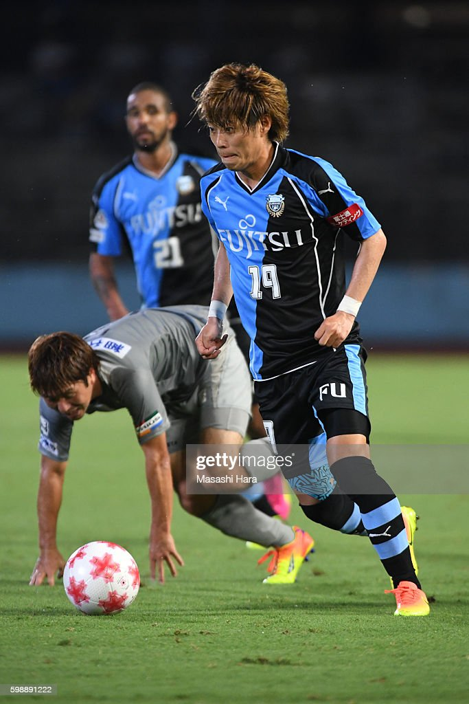 Kentaro Moriya #19 of Kawasaki Frontale in action during the 96th Emperor's Cup first round match between Kawasaki Frontale and Blaublitz Akita at Todoroki Stadium on September 3, 2016 in Kawasaki, Kanagawa, Japan.