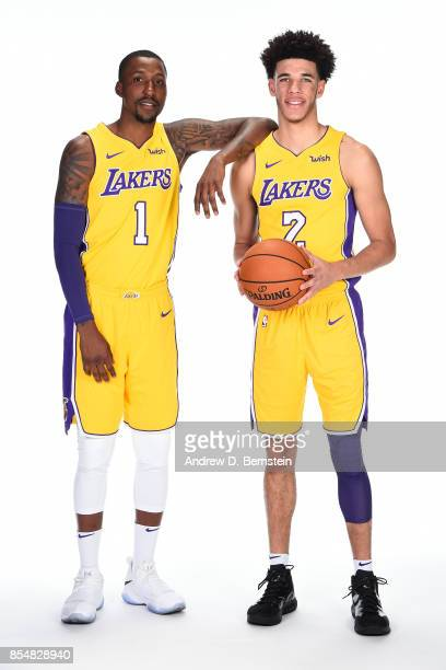 Kentavious CaldwellPope and Lonzo Ball of the Los Angeles Lakers pose for a portrait during media day at UCLA Health Training Center on September 25...