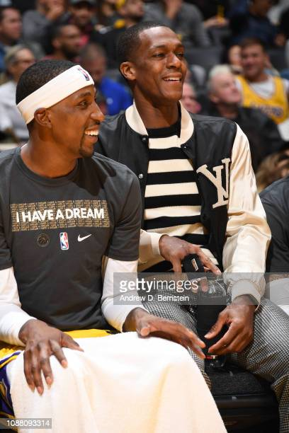 Kentavious CaldwellPope and Rajon Rondo of the Los Angeles Lakers look on during the game against the Golden State Warriors on January 21 2019 at...