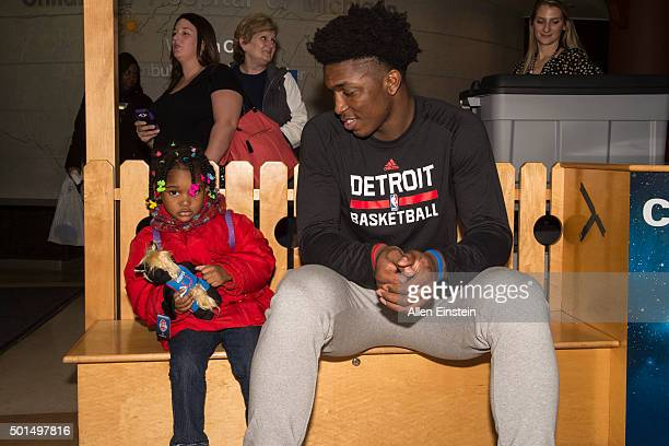 Kentavious CaldwellPope and Stanley Johnson of the Detroit Pistons bring gifts and visit with patients on December 15 2015 at Children's Hospital of...
