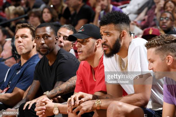 Kentavious CaldwellPope Lonzo Ball and JaVale McGee of the the Los Angeles Lakers attend the game against the the Philadelphia 76ers during the 2018...
