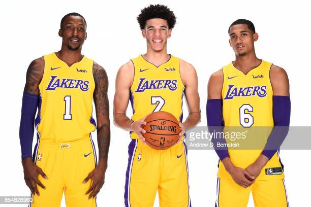 Kentavious CaldwellPope Lonzo Ball and Jordan Clarkson of the Los Angeles Lakers pose for a portrait during media day at UCLA Health Training Center...