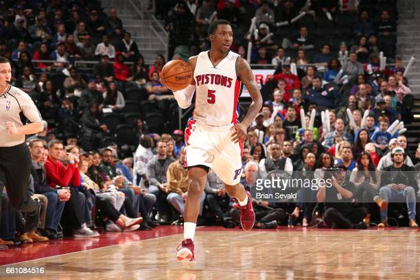 Kentavious CaldwellPope of the Detroit Pistons brings the ball up court during the game against the Brooklyn Nets on March 30 2017 at The Palace of...