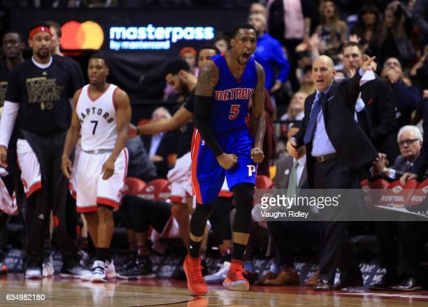 Kentavious CaldwellPope of the Detroit Pistons celebrates after sinking the winning basket late in the second half of an NBA game against the Toronto...