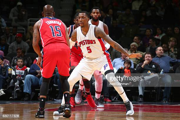 Kentavious CaldwellPope of the Detroit Pistons defends against the Washington Wizards on December 16 2016 at Verizon Center in Washington DC NOTE TO...