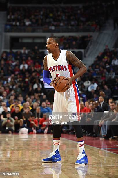 Kentavious CaldwellPope of the Detroit Pistons defends the ball against the Cleveland Cavaliers during the game on January 29 2016 at The Palace of...