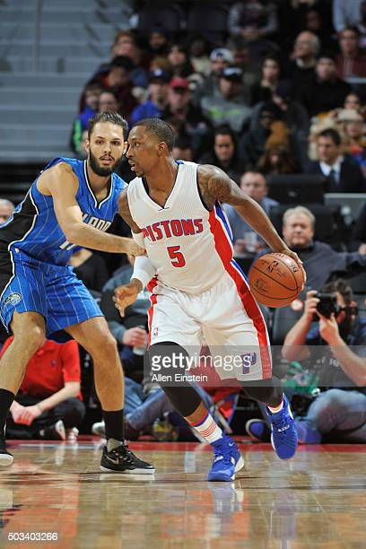 Kentavious CaldwellPope of the Detroit Pistons drives to the basket against the Orlando Magic during the game on January 4 2016 at The Palace of...