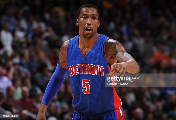 Kentavious CaldwellPope of the Detroit Pistons during the game against the Denver Nuggets on January 23 2016 at the Pepsi Center in Denver Colorado...