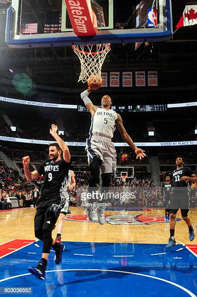 Kentavious CaldwellPope of the Detroit Pistons goes to the basket against the Minnesota Timberwolves on December 31 2015 at The Palace of Auburn...