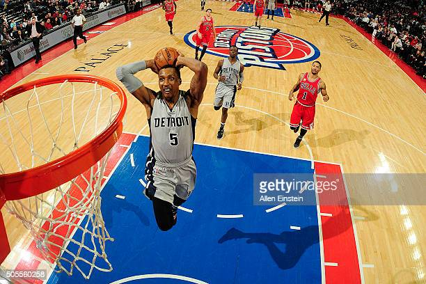 Kentavious CaldwellPope of the Detroit Pistons goes up for a dunk against the Chicago Bulls on January 18 2016 at The Palace of Auburn Hills in...