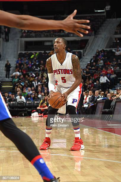 Kentavious CaldwellPope of the Detroit Pistons handles the ball during the game against the Philadelphia 76ers on January 27 2016 at The Palace of...