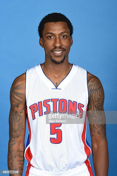 Kentavious CaldwellPope of the Detroit Pistons poses for a portrait during media day on September 28 2015 at The Palace of Auburn Hills in Auburn...