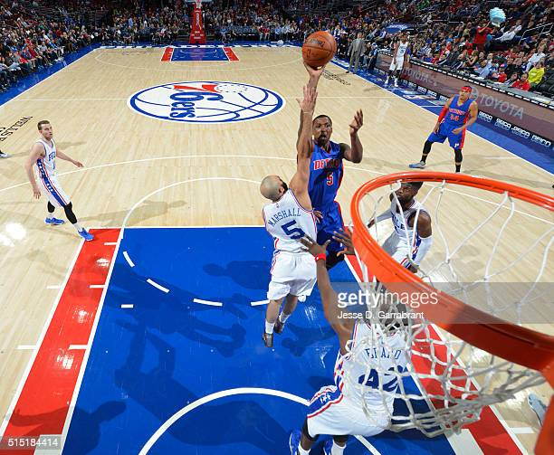 Kentavious CaldwellPope of the Detroit Pistons puts up the shot against the Philadelphia 76ers at Wells Fargo Center on March 12 2016 in Philadelphia...