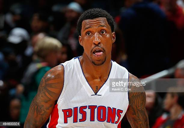 Kentavious CaldwellPope of the Detroit Pistons reacts after a basket against the Atlanta Hawks at Philips Arena on October 27 2015 in Atlanta Georgia...