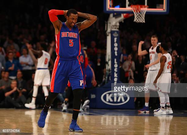 Kentavious CaldwellPope of the Detroit Pistons reacts after losing 105102 against the New York Knicks at Madison Square Garden on November 16 2016 in...