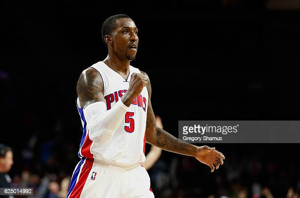 Kentavious CaldwellPope of the Detroit Pistons reacts while playing the Houston Rockets during the second half at the Palace of Auburn Hills on...