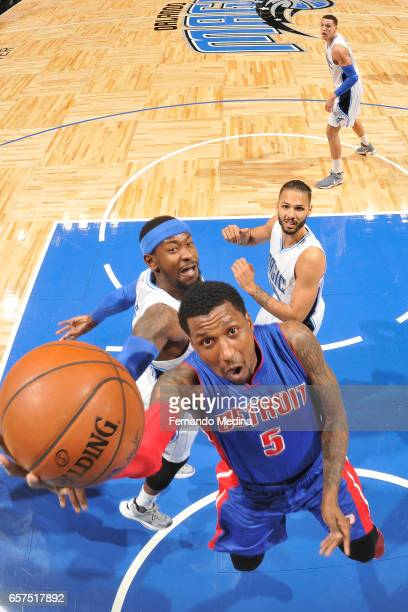 Kentavious CaldwellPope of the Detroit Pistons shoots a lay up against the Orlando Magic on March 24 2017 at Amway Center in Orlando Florida NOTE TO...