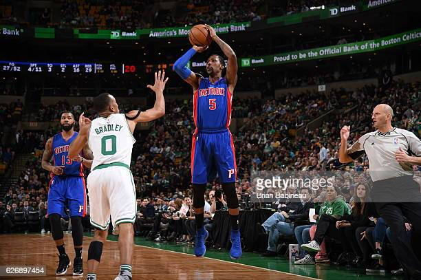Kentavious CaldwellPope of the Detroit Pistons shoots the ball against the Boston Celtics on November 30 2016 at the TD Garden in Boston...