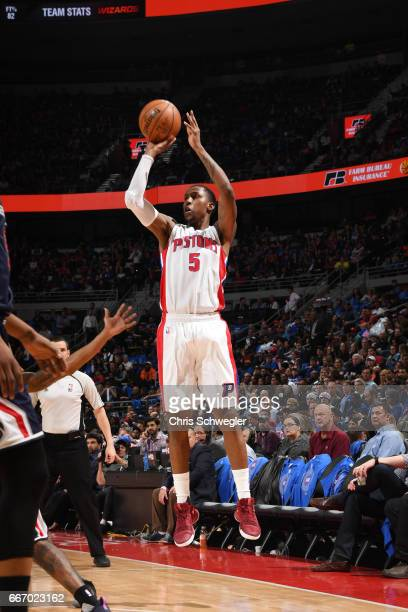 Kentavious CaldwellPope of the Detroit Pistons shoots the ball against the Washington Wizards on April 10 2017 at The Palace of Auburn Hills in...