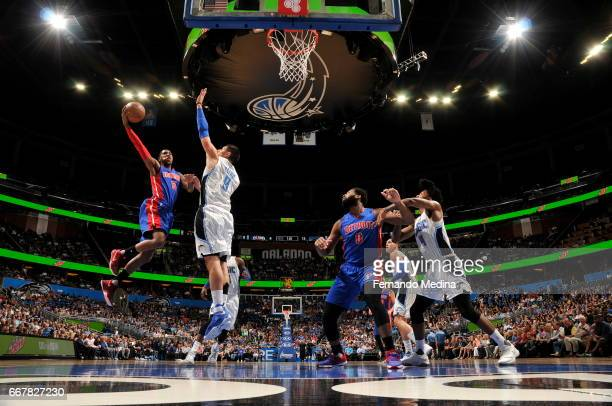 Kentavious CaldwellPope of the Detroit Pistons shoots the ball against the Orlando Magic on April 12 2017 at the Amway Center in Orlando Florida NOTE...