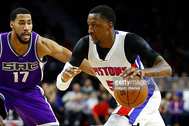 Kentavious CaldwellPope of the Detroit Pistons tries to drive around Garrett Temple of the Sacramento Kings during the first half at the Palace of...