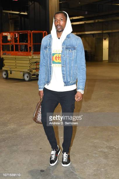 Kentavious CaldwellPope of the Los Angeles Lakers arrives at the arena before the game agains the Miami Heat on December 10 2018 at STAPLES Center in...