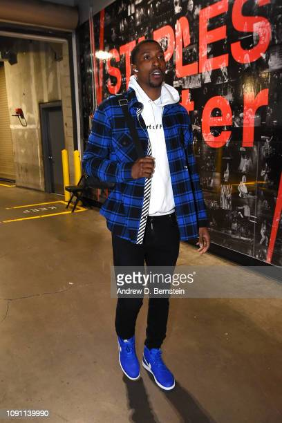 Kentavious CaldwellPope of the Los Angeles Lakers arrives at the arena before the game against the Philadelphia 76ers on January 21 2019 at STAPLES...
