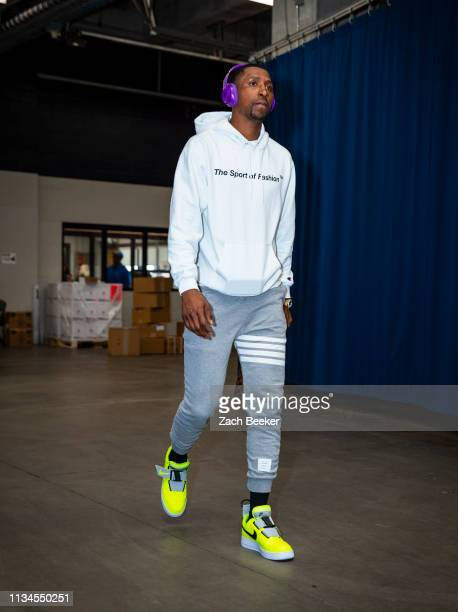 Kentavious CaldwellPope of the Los Angeles Lakers arrives at the arena before the game against the Oklahoma City Thunder on April 2 2019 at...