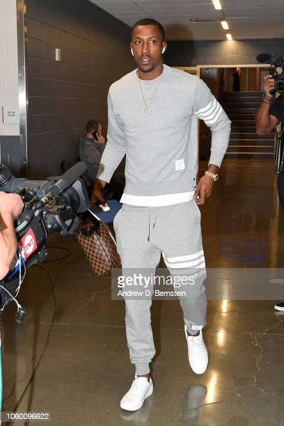 Kentavious CaldwellPope of the Los Angeles Lakers arrives before the game against the Sacramento Kings on November 10 2018 at Golden 1 Center in...