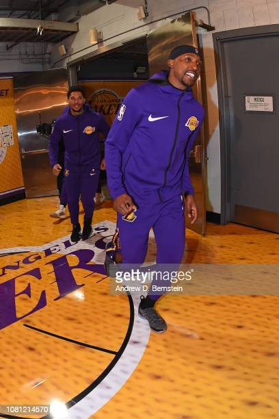 Kentavious CaldwellPope of the Los Angeles Lakers arrives before the game against the New Orleans Pelicans on December 21 2018 at STAPLES Center in...