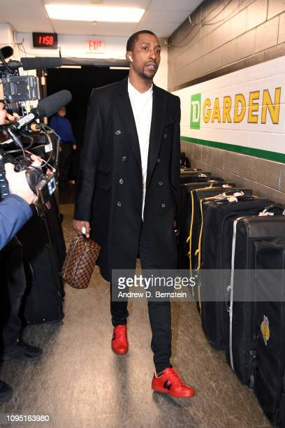 Kentavious CaldwellPope of the Los Angeles Lakers arrives before the game against the Boston Celtics on February 7 2019 at the TD Garden in Boston...