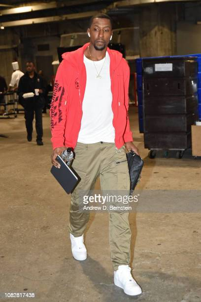 Kentavious CaldwellPope of the Los Angeles Lakers arrives for the game against the Detroit Pistons on January 9 2019 at STAPLES Center in Los Angeles...