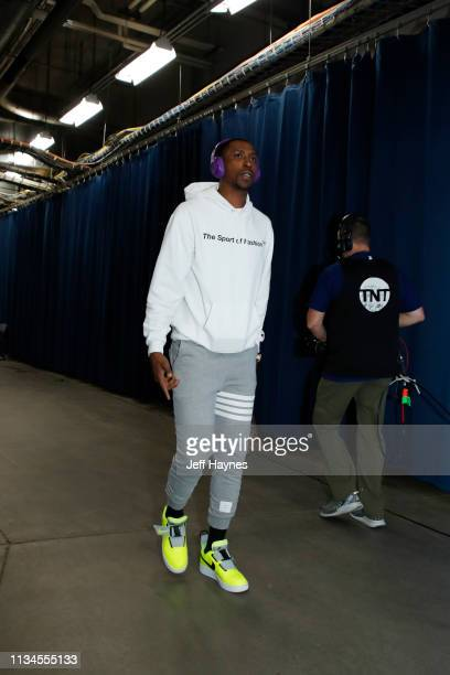 Kentavious CaldwellPope of the Los Angeles Lakers arrives prior to a game against the Oklahoma City Thunder on April 2 2019 at Chesapeake Energy...